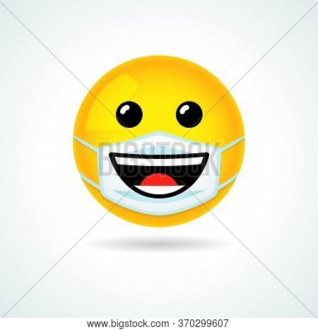 Emoji Smile Face With Guard Mouth Mask. Yellow Happiness Smiling Emoticon Wearing A White Surgical M