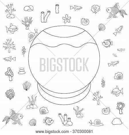 Educational Game For A Child. Aquarium. Designer. They Put Their Pets In The House. Vector Set. Outl