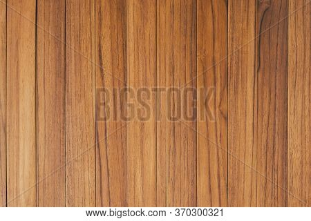 Above View Of Brown Panel Wooden Texture Background. Old Striped Wood Lumber Wall. Vintage Board Flo