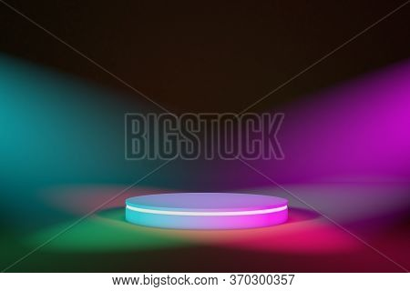 Stage Podium With Colored Lighting, Stage For Product. 3d Illustration