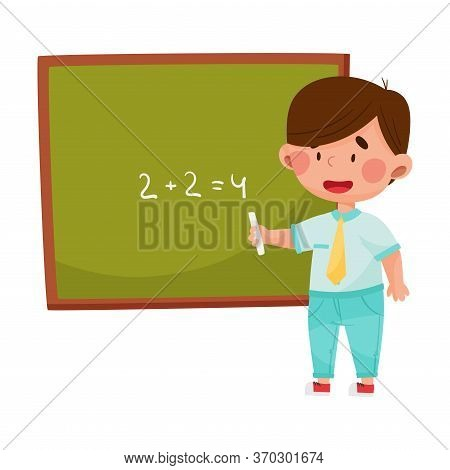 Boy Character Standing Near Blackboard And Doing Sums Vector Illustration