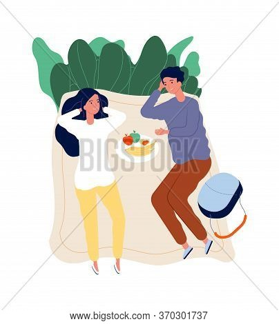 Couple On Picnic. Outdoor Activity, Relaxing And Spend Time Together. Dating On Nature With Food And