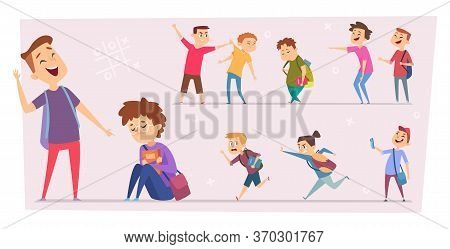 Bullying Kids. Teasing Stressed Children Conflict Pupils In School Little Scare Characters Problem P