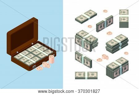 Stack Money. American Dollars Golden Coins Buyers Items Banking Symbols Vector Isometric Collection.