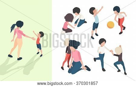 Nanny With Kids. Preschool Teacher Playing Toys And Teaching Happy Children Babies Care Vector Isome