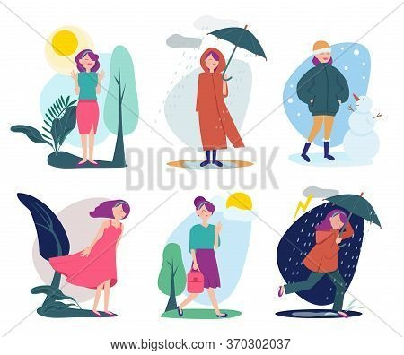 Woman Weather. Seasonal People Walking With Umbrella Summer Cold Rainy Shiny Windy Outdoor Vector Pe