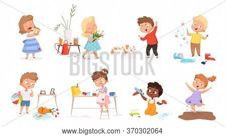 Kids Destroy. Little Delinquent Messy Children Hyperactivity Energy Games Vector Different Troubles