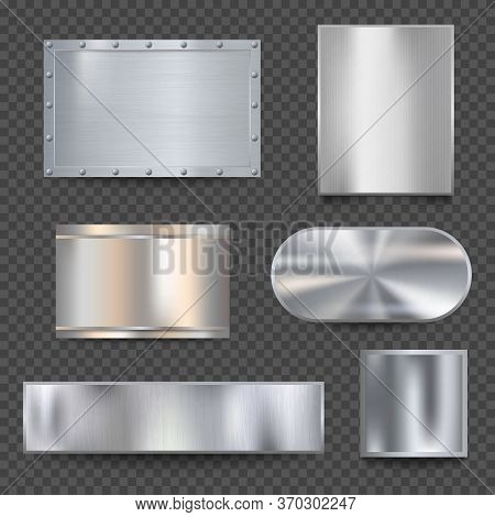 Steel Banners. Realistic Metallic Shiny Plaque Plate Vector Detailed Textures. Panel Plaque, Stainle