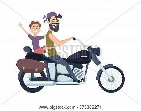 Biker On Motorcycle. Father Rolls Son On Scooter. Happy Cartoon Fathers Weekend Vector Illustration.