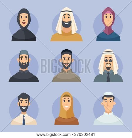 Muslim Avatars. Arabic Male And Female Characters Front View Portraits Faces Vector East People. Ava