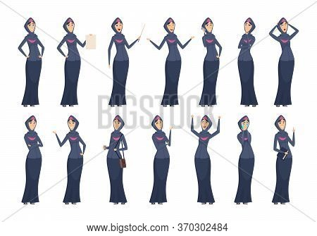 Muslim Woman. Arabic Business Female Characters In Black Dresses Arabize And Saudi Girls Vector Peop