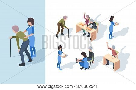 Elderly Nursing Clinic. Playing Senior Exercises Medical Staff Helping Elderly Person Vector Isometr
