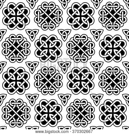 Irish Celtic Knots And Braids Vector Seamless Pattern  Set, Retro Design St Patrick's Day Celebratio