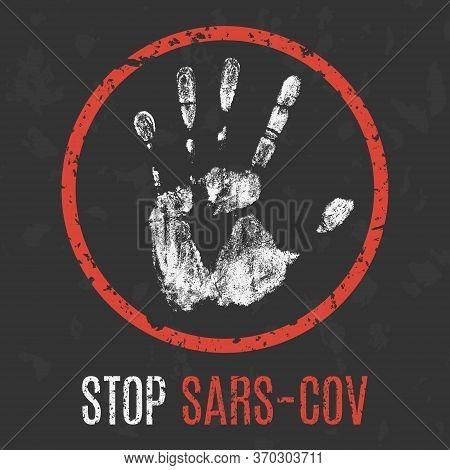 Conceptual Vector Illustration. Human Diseases. Stop Sars-cov.