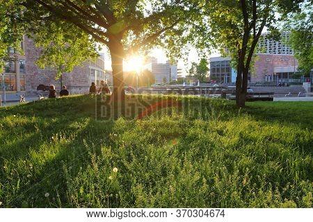 Chemnitz, Germany - May 8, 2018: Sunset View In Chemnitz, Germany. Chemnitz Is The 3rd-largest City