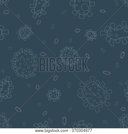 Bacterial Microorganism Pattern. Flat Background With Microbes. A Microorganism And Allergen Picture
