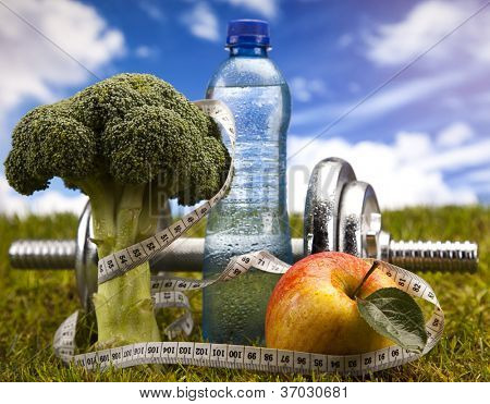 Fitness Food and green grass with blue sky poster