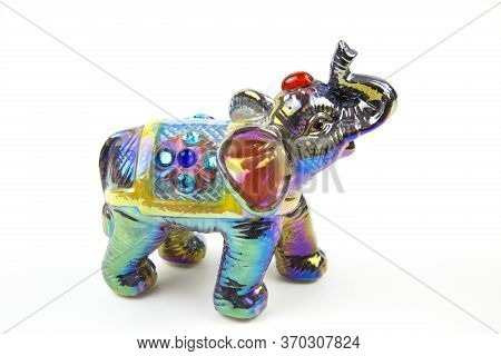 Beautiful Marble Statuette Elephant Pearl Lilac With Red And Gold Painted Rhinestones, Isolated On A