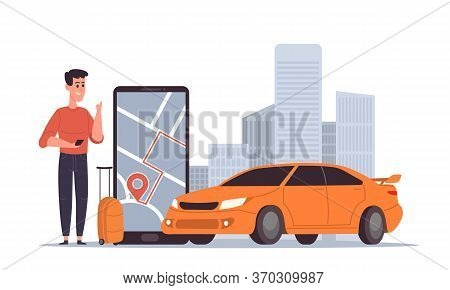 Public Taxi Mobile Application Modern Concept. Online Ordering Taxi Car, Rent And Carsharing. Young