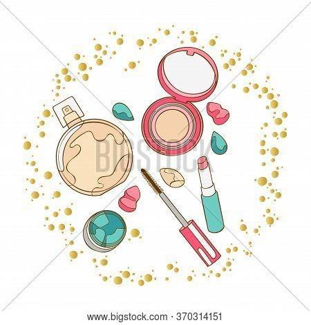 Cosmetics. Mascara, Eye Shadow, Lipstick, Powder, Perfume, Eau De Toilette, Perfume. Round Golden Fr