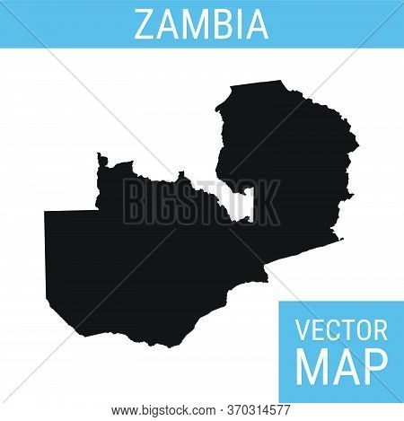 Zambia Vector Map With Country Name, Black On White Background