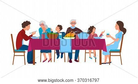Cartoon Color Characters People Family Together Sitting At Dining Table Concept Flat Design Style .