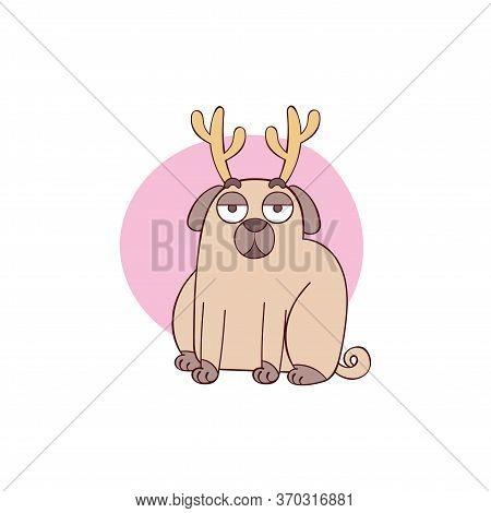 Cute Pug Dog. Pug Puppy. Cartoon Animal. Deer Horns. Isolated Vector Object On White Background.