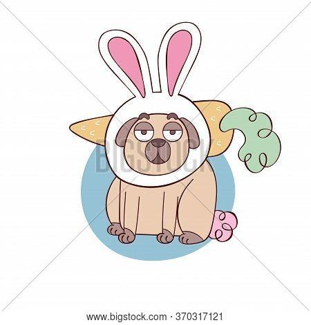 Cute Pug Dog. Pug Puppy. Cartoon Animal. Bunny And Carrot. Isolated Vector Object On White Backgroun