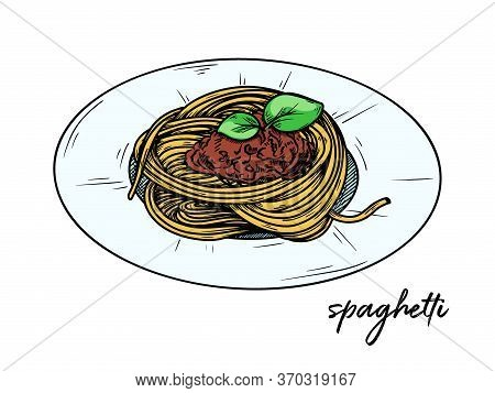 Spaghetti Isolated On A White Background. Sketch Italian Dishes. Vector Illustration In Sketch Style