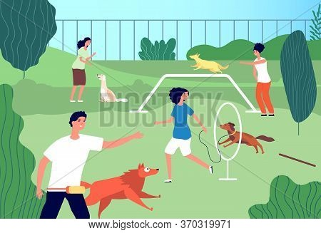 Pets Playground. Funny Domestic Dogs, Men Activities. Puppies Owners Running And Training. Animal Lo