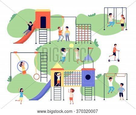 Children Playground. Group Happy Kids. Kindergarten Outdoor Activity. Vacation, Friends Game In Park