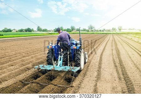 Farmer On A Tractor Making Rows On A Farm Field. Preparing The Land For Planting Future Crop Plants.