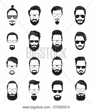 Bearded Face. Black Men Beards. Handsome Model Hairstyling, Portrait Face Old Hipster. Isolated Youn