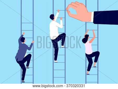 Career Ladder. Help Business Man, Corporate Challenge. Unequal Job Conditions And Growth Opportunity