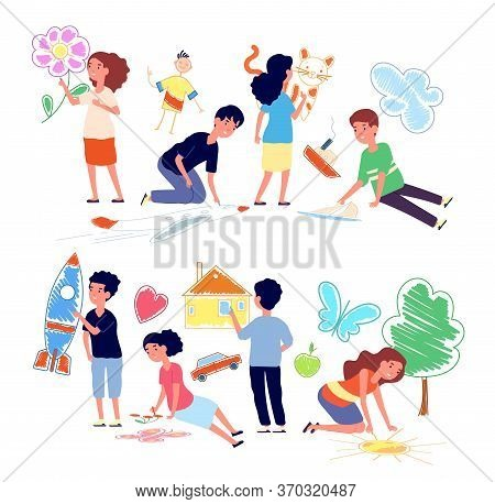 Children Drawing On Floor. Cartoon Girl Draw Crayon. Art Kindergarten Kids On Walking. Happy Prescho