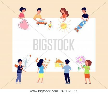 Children Painting Banner. Kids Drawing On Wall. Creative Kindergarten, Toddlers Paint Poster. Paper