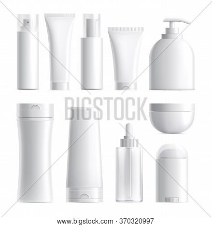 Cosmetics Package. Isolated Bottle Mockup. Realistic Blank Beauty Products Plastic Glass Container.