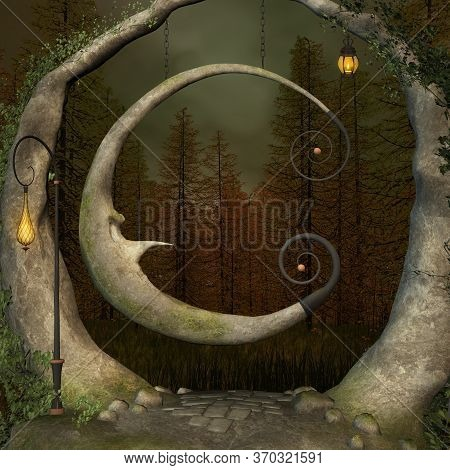 Enchanted Swing In The Middle Of The Black Forest - 3d Illustration