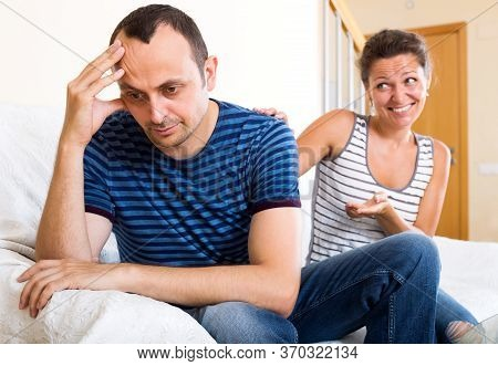 Heavy Reconciliation Between The Young Spouses After Huge Quarrel. Focus On The Man