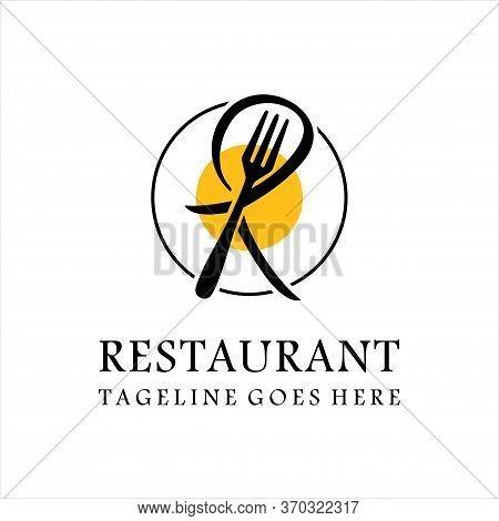 Fork Food With Letter R Logo, Restaurant Logo Icon, Restaurant Logo With Minimalist Creative Style