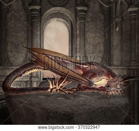 Mythological Dragon Sleeping Inside An Old Medieval Palace - 3d Illustration