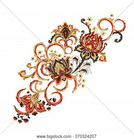 Embroidery Stitches With Fantasy Flowers In Bright Colors. Vector Fashion Ornament On White Backgrou
