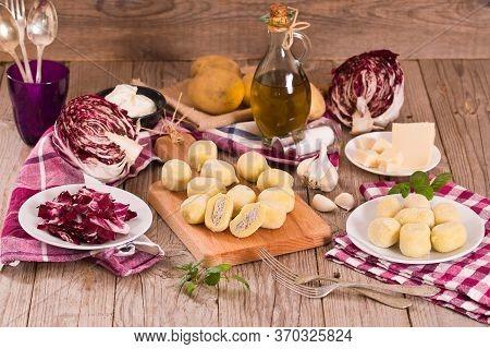 Potato Gnocchi Stuffed With Radicchio And Ricotta.