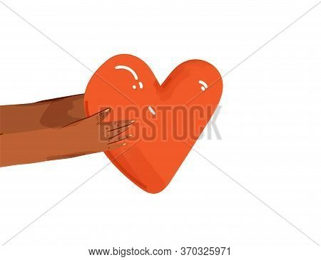 Vector Flat Illustration Of Diverse People Sharing Love, Support, Appreciation To Each Other. Hands