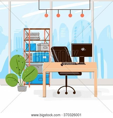 Vector Flat Collection Of Creative Workplace With Modern Open Space And Empty Office Interior - Busi