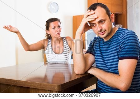 Serious Home Conflict Between Young Stressed Spouses.