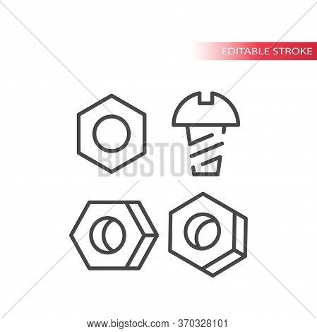 Bolt, Screw Or Fastener With Nut Thin Line Vector Icon. Outline, Editable Stroke.