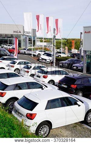 Bordeaux , Aquitaine / France - 10 27 2019 : Audi Flag Logo Car Sign Shop Dealership Automobiles For