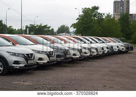 Saint Petersburg, Russia - June 06, 2020: Nissan Qashqai And Hyundai Creta Carsharing Company Youdri