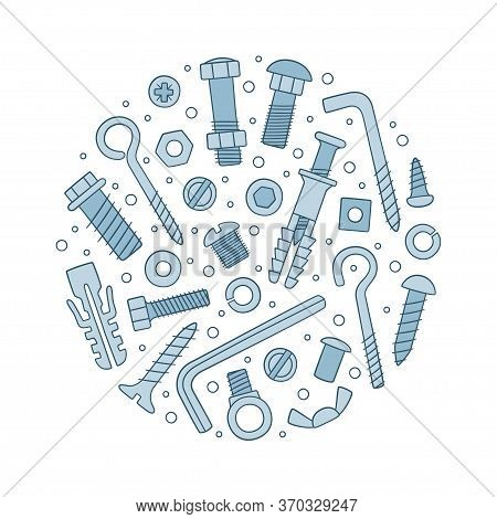 Set Of Fasteners In Circle. Bolts, Screws, Nuts, Dowels And Rivets In Doodle Style. Hand Drawn Build
